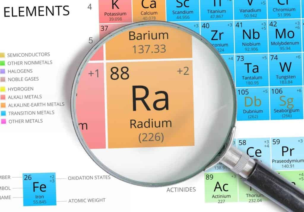 This is an image of the periodic table, showing Radium. Radium is a radioactive element and can be found in some water supplies.