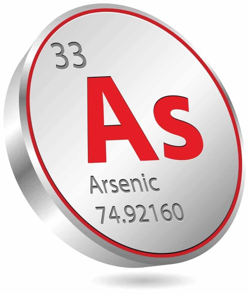 This is a graphic of the periodic element Arsenic. It can lead to cancer if drank in large quantities.
